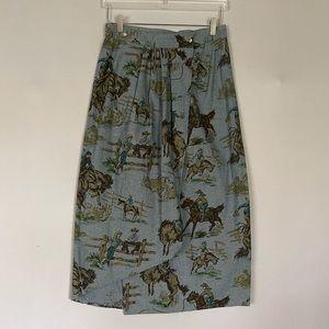 Cowboy Novelty Print Wrap Skirt 6 Southwestern